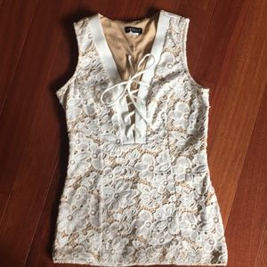 Venus Lace up ivory and nude shirt